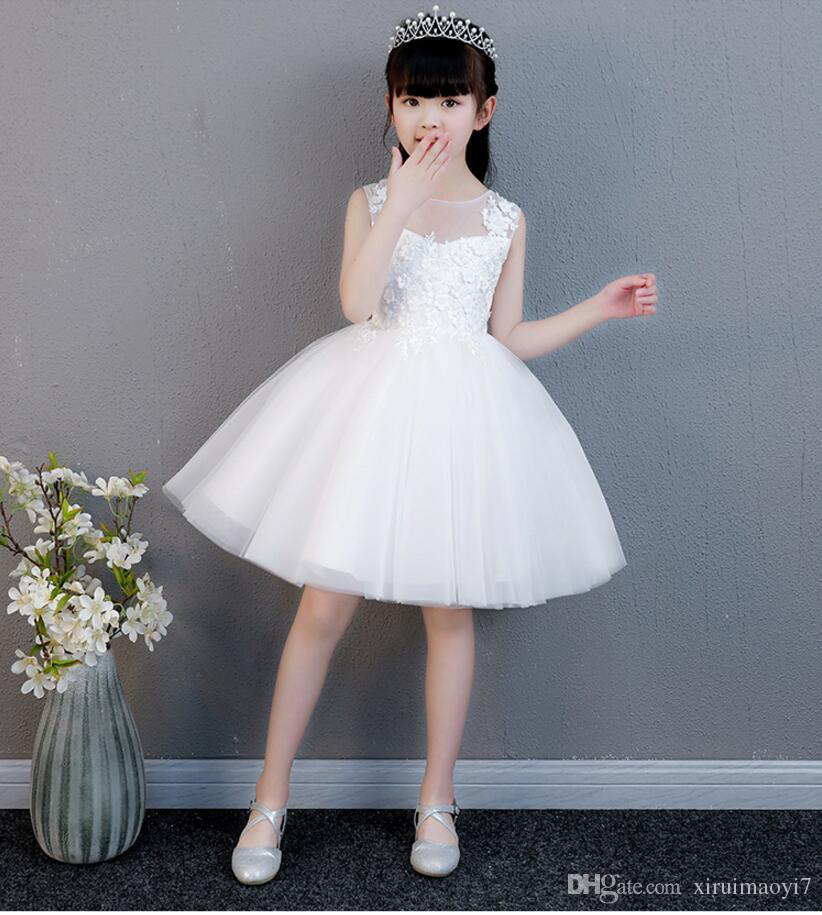 ac95cd6155e Elegant Summer Girl Dress White Lace Princess Birthday Party Wedding Dress  Appliques Formal Girls First Communion Dresses Designer Outfits Discount  Flower ...