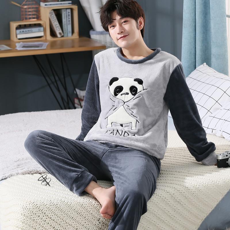 44e840c394a9 2019 Plus Size 5XL Thick Warm Flannel Pajamas Sets For Men 2018 Winter Long  Sleeve Coral Velvet Pyjama Cartoon Panda Homewear Clothes From  Chenhanyang163