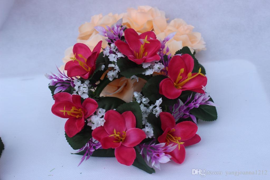 Wholesale Freies Verschiffen 5 stücke Wohnkultur Hochzeit Dekorationen Künstliche Blumen Kränze Kunststoff Bouquet Dekoration
