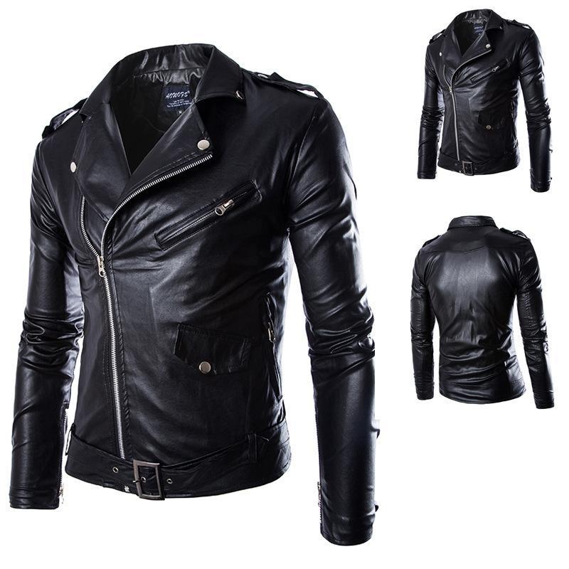 f7bec5262b97 Mens PU Leather Jackets Spring Autumn British Style Men Leather Jacket  Fashion Motorcycle Jacket Male Coat Black White M 4XL White Coat Jacket  Jean Biker ...