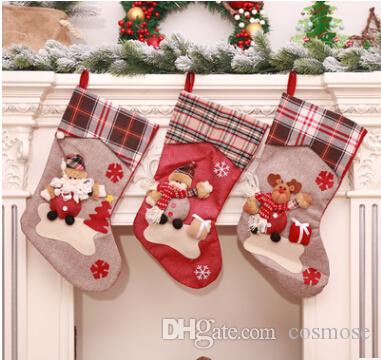 2018 new style large christmas stocking santa claus elk snowman candy gift bag for christams decoration tree and new year party decoration cheap christmas - Large Christmas Stocking