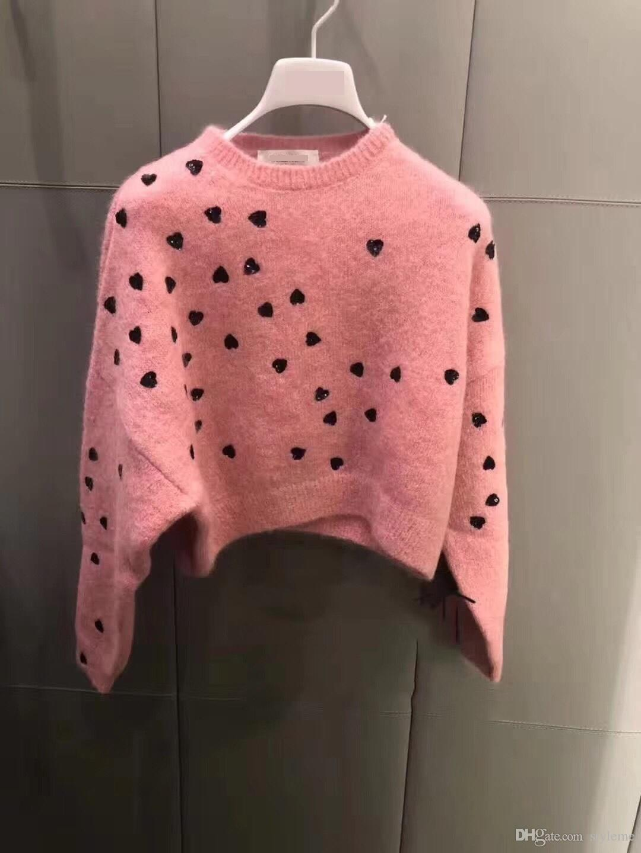 Compre Diseñador De La Marca Mujeres Wool Crop Sweaters 2018 Otoño Invierno  Moda Love Hearts Bordado Drop Shoulder Soft Pullovers Jumpers Streetwear A  ... b53be2ef9b2e