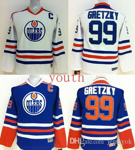 ab98e6bd7 ... discount top quality ccm youth kids edmonton oilers ice hockey jerseys  cheap 99 wayne gretzky blue