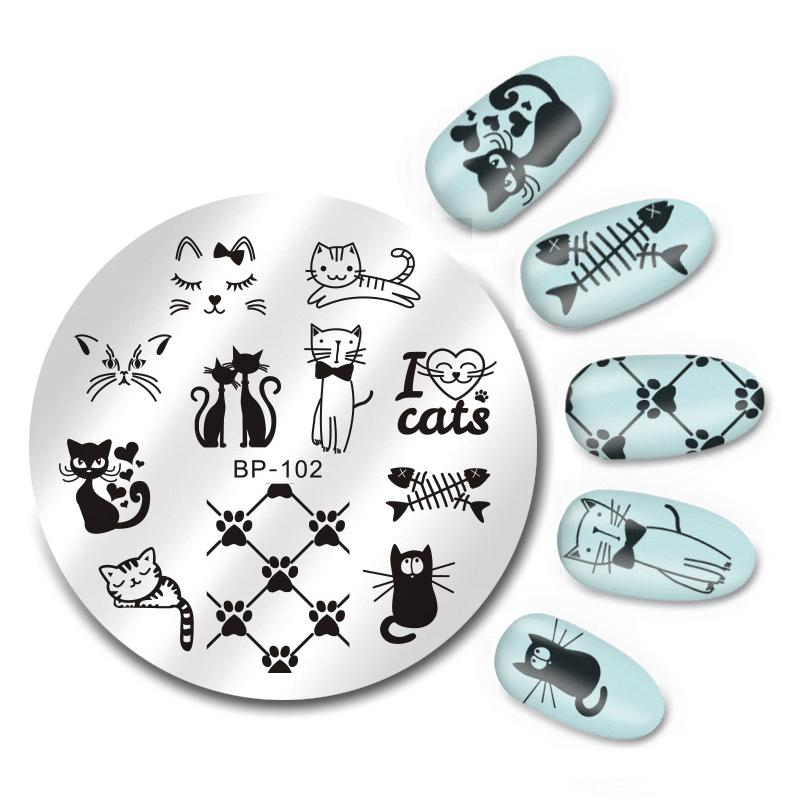 Design A Stamp Template | Born Pretty 5 5cm Round Nail Art Stamp Template Cute Cats Design