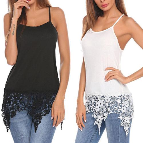 966f1617662 2019 Women S Sexy Camisole Spaghetti Strap Tee Camis Basic White Black Lace  Trim Shirts Tank Tops From Rykeri