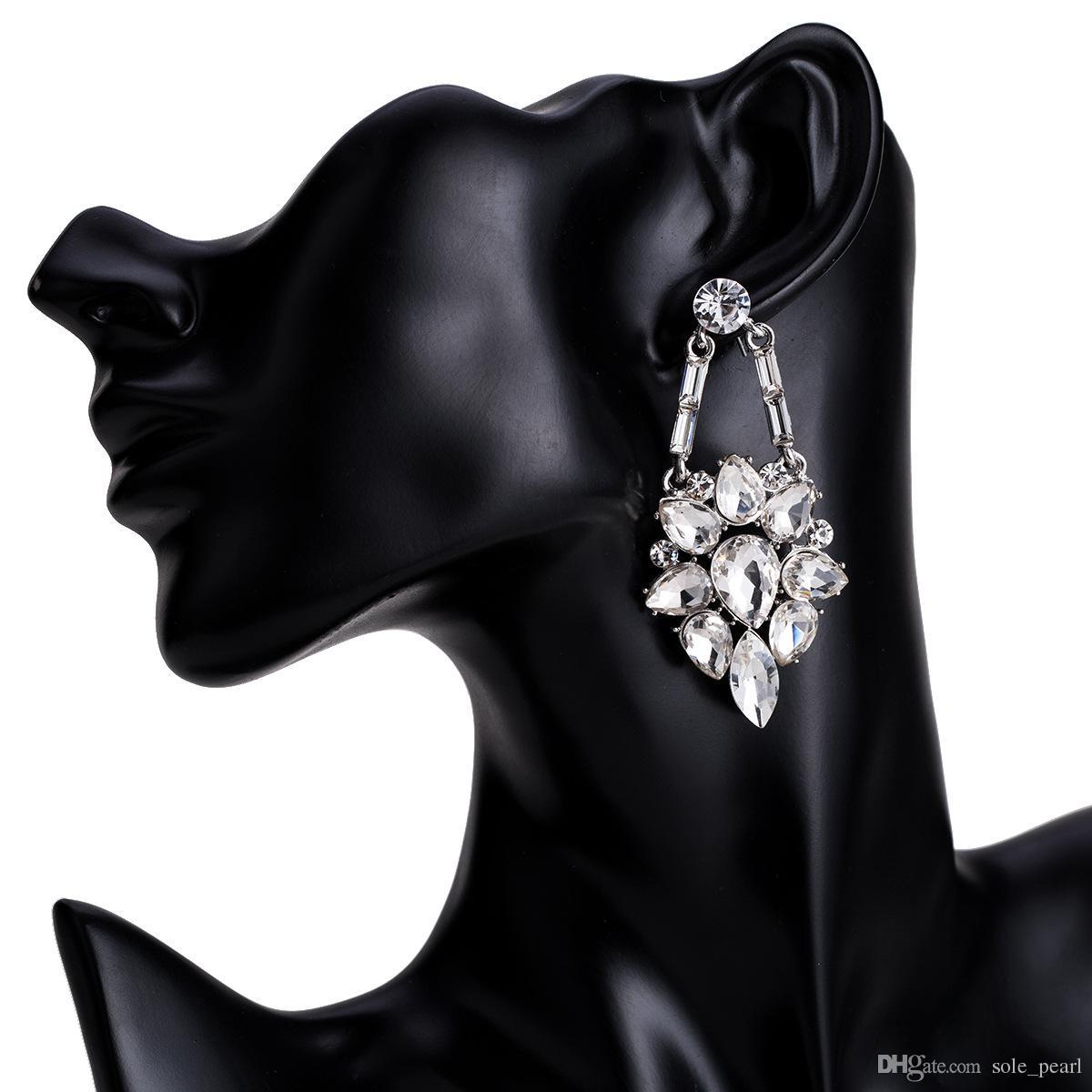 кисточкой серьги для женщин роскошные Boho личность стекло дрель мотаться серьги простой старинные геометрические ювелирные изделия оптом 2018
