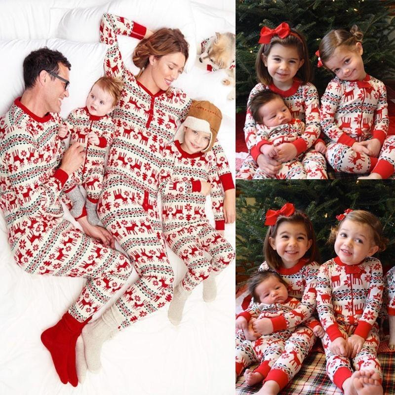 95% Cotton Family Matching Christmas Pajamas Sets 2018 Winter Mother Father  Son Daughter Sleepwear Family Clothes Home Wear Family Coordinated Outfits  Mommy ... 5bd763a0a