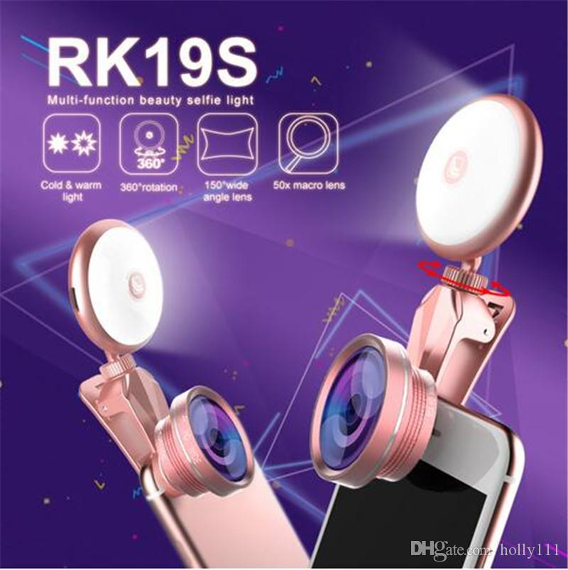 RK19S selfie LED phone lens Flash Light Beauty Phone Lens 360 Rotation 4 in 1 mobile lens For Iphone Android Smartphones
