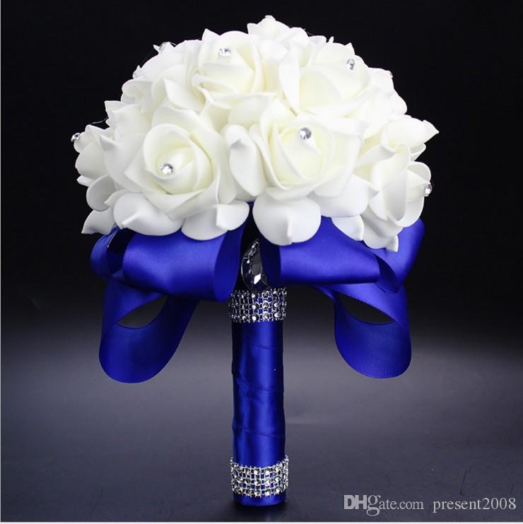 Nuovo cristallo Bridal White Wedding Bouquet Beads nuziale Fiori della holding fatto a mano fiori artificiali Rose sposa damigella d'onore