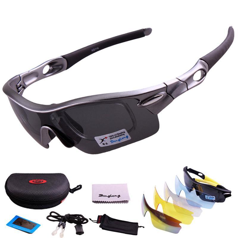 Compre UV400 Homens Mulheres Polarizada Cinza Lente Principal Com  Intercâmbio 4 Função PC Lente Esporte Eyewear Ciclismo Óculos De Sol  Sunglasse De Charlia, ... 54330e7a47