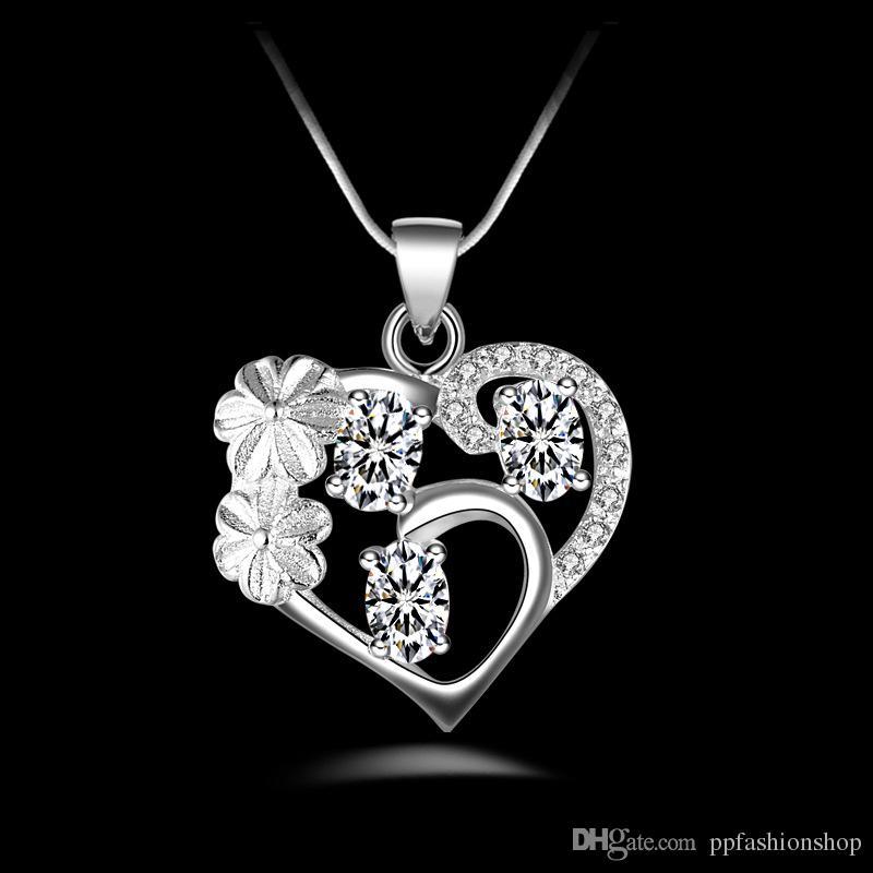 Gümüş Takı Kolye Güzel atural ametist gümüş kaplama zirkon kolye 925 takı gümüş kaplama Kolye Moda hediye kolye En Qualit