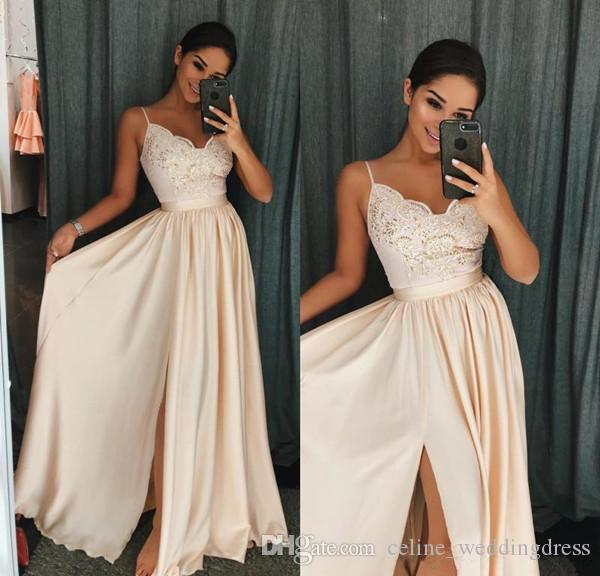 2018 Champagne Prom Dresses A Line Spaghetti Floor Length Evening Gowns With Applique Satin High Split Formal Party Gowns
