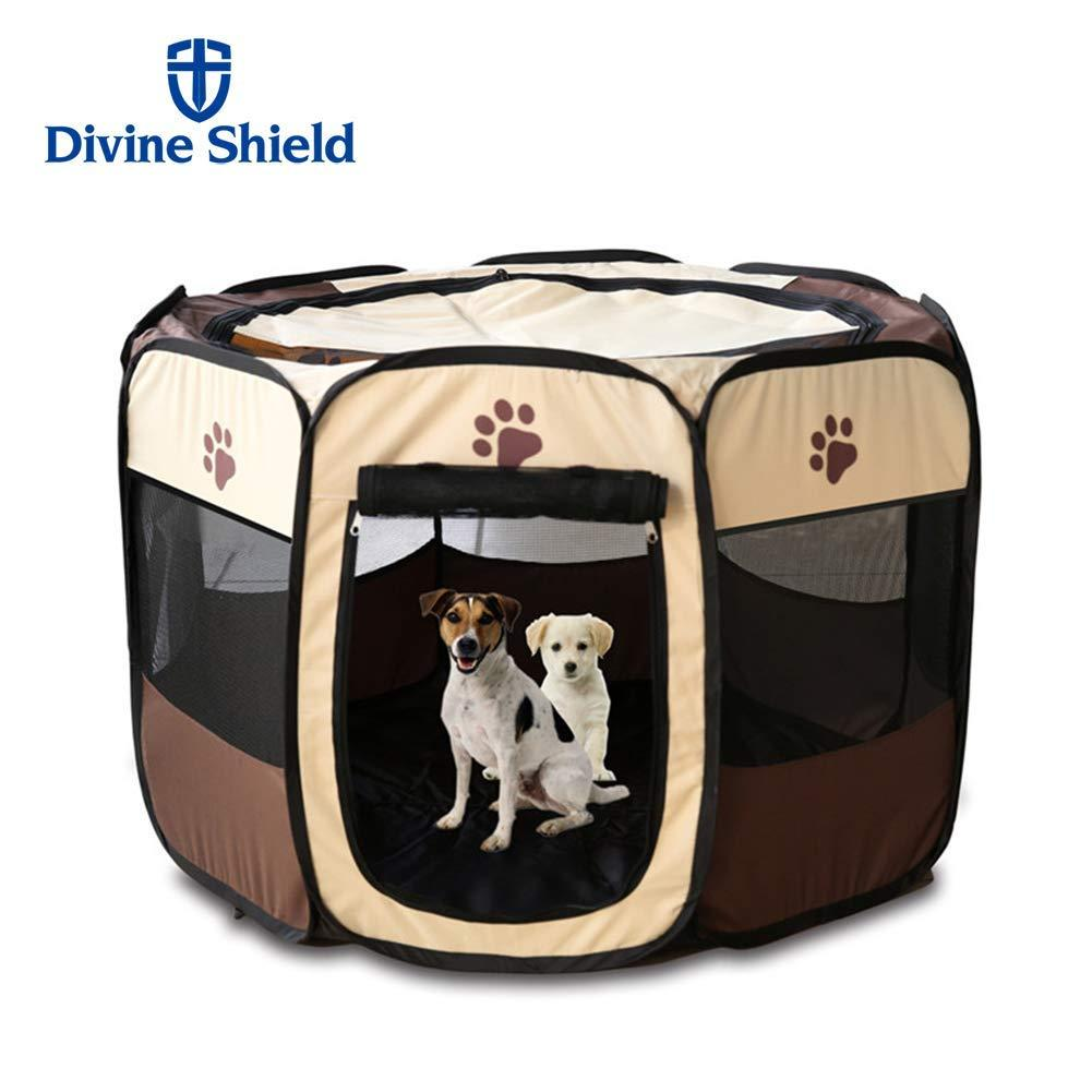 9d6afc09d89c 2019 Divine Shield Pet Playpen Dog Cage Portable Exercise Kennel For Dogs  Indoor Outdoor Removable Mesh Shade Cover From Oouteda
