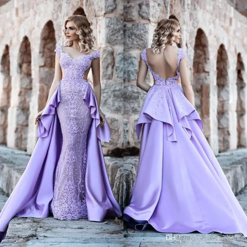 b1de4d7ae67 Lavender Lace Appliques Prom Dress With Overskirt Dubai Formal Party Gowns  Cap Sleeves Backless Mermaid Evening Dresses Open Back Camo Prom Dresses  Under ...
