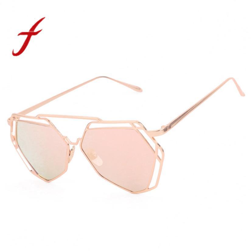 Compre Feitong Design De Moda Twin Vigas Geometria Mulheres Armação De  Metal Espelho Óculos De Sol Óculos De Olho De Gato Gafas De Sol Oculos  Feminino 2018 ... 28b384b461