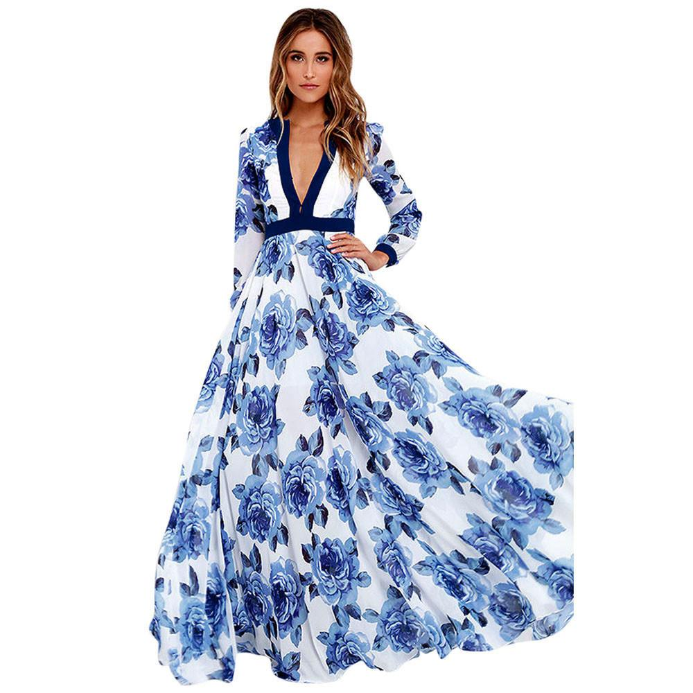 8235d1746a5e Großhandel Frauen Langes Kleid Tiefem V Langarm Maxi Kleider 2017 Herbst  Damen Blaue Rose Gedruckt Party Dress Vestido Longo   10 Von Bestshirt010,  ...