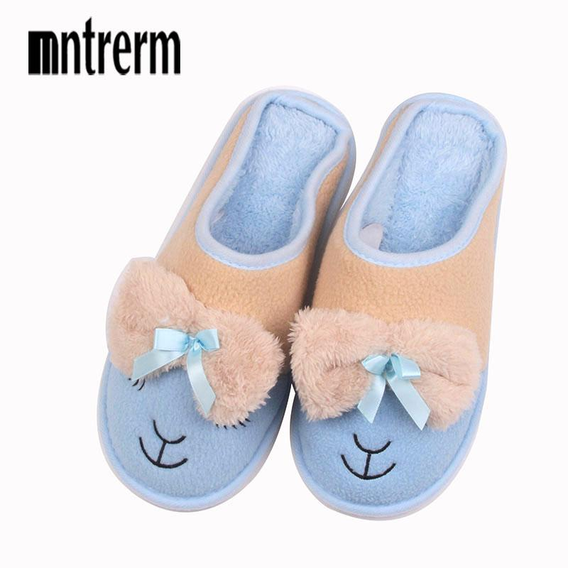 742ca2488e8 Mntrerm Winter Women Slippers Cartoon Hello Kitty Slippers Indoor Home Shoes  Warm Adult Shoes Plush Pantufas With Bowtie Loafers Boots Shoes Green Shoes  ...
