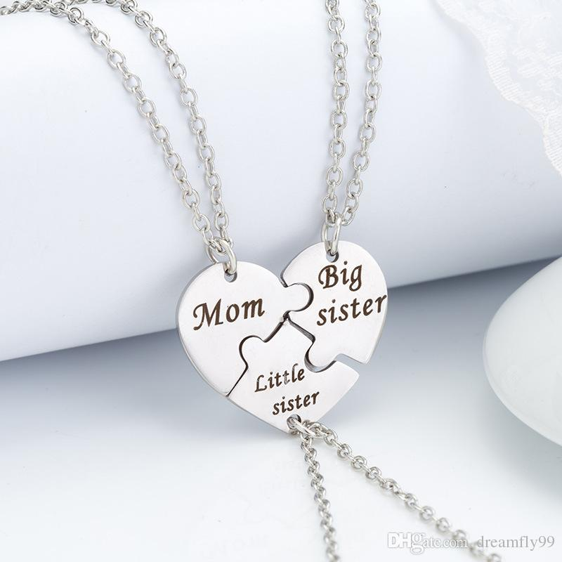 2019 Stainless Steel Mom Big Little Sister Fashion Chain Jewelry Necklace Pendant For Children Birthday Gifts Women From Dreamfly99 1122