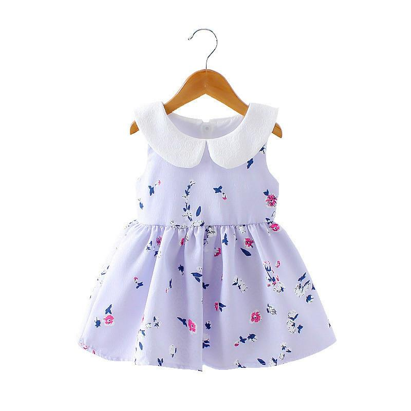 1c827a44b61e4 2018 Baby Girl Dress Summer Floral Printed Dress For Kids Girl Summer Baby  Beautiful Clothes Pink Purple 1-3Y