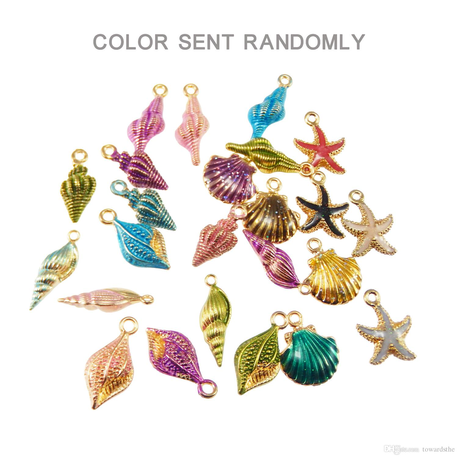 Exquisite ornaments of color alloy enamel mixed shell starfish conch jewelry pendant crafts discovery.Randomly send