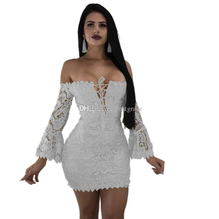 a6980bb148 2019 Women Summer Dresses Flare Sleeve Sexy Off The Shoulder Dresses Fashion  Lace Bodycon Party Dresses With From Eastgrace, $22.12   DHgate.Com