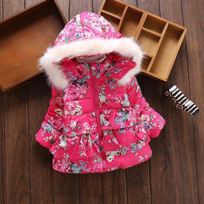 BibiCola girls down parkas winter girls flower thick warm hooded jacket children cotton-padded snowsuit kids outerwear coat