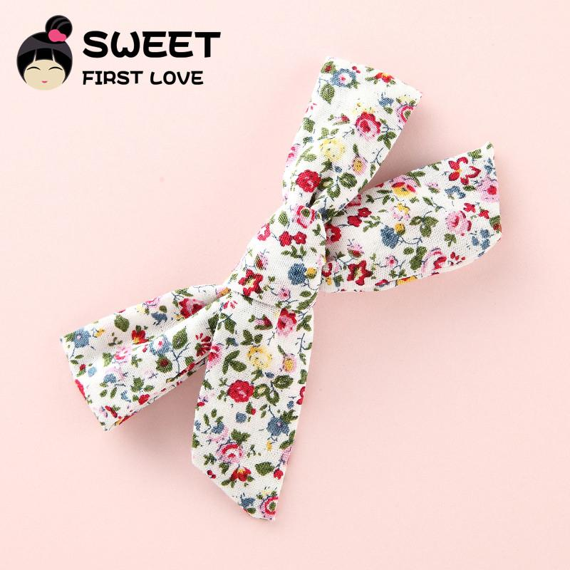 1PCS Boutique Cotton Cloth Bow Hair Clips Kids Girl's Hairpins Barrettes Headwear Hair Accessories Floral Fabric