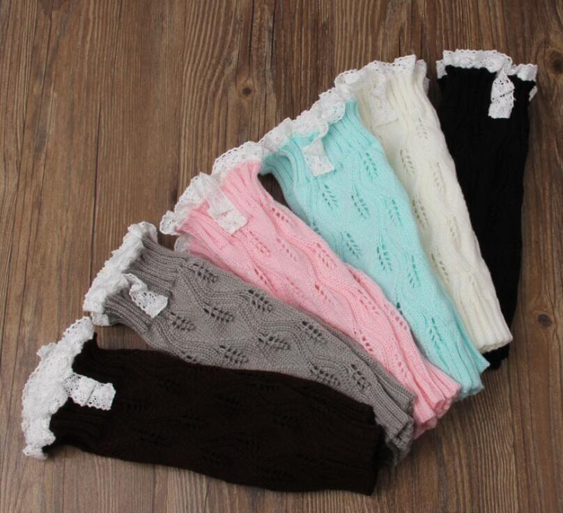 Girls Lace Crochet Boot Cuffs Christmas Leg Warmers Knit Covers Ballet Xmas Knee High Socks