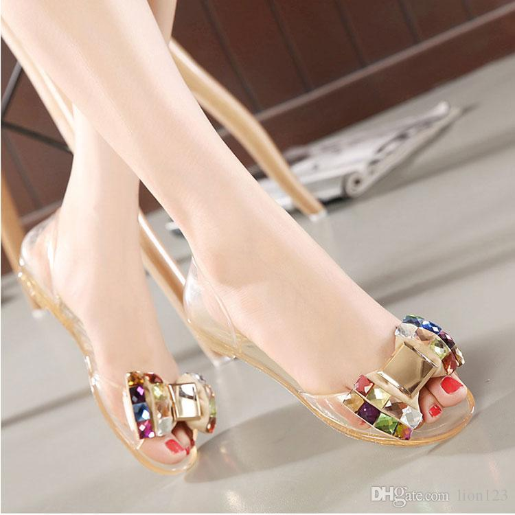 e55f37030d2a8c Double Crystal Sandals Rhinestone Open Toe Jelly Transparent Shoes Fashion  American Sandals Crystal Sandals Crystal Rhinestone Sandals Jelly  Transparent ...
