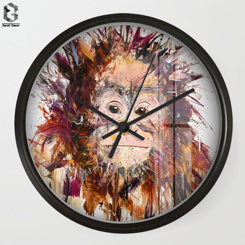 Chic Art Wall Clock Cartoon Monkey For Kids Room Wall Decor Nursery
