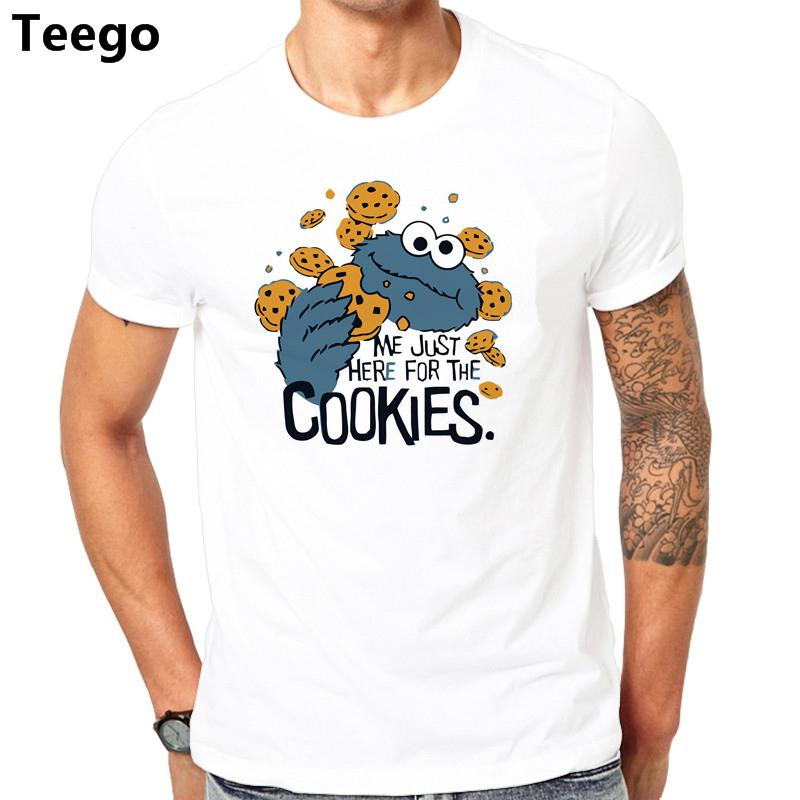 b861b917d62 Funny Me just here for cookies T Shirt Men Novelty Sesame Street Cookie  Monster T-shirt Man Brand Clothing mens fitness Tops Tee