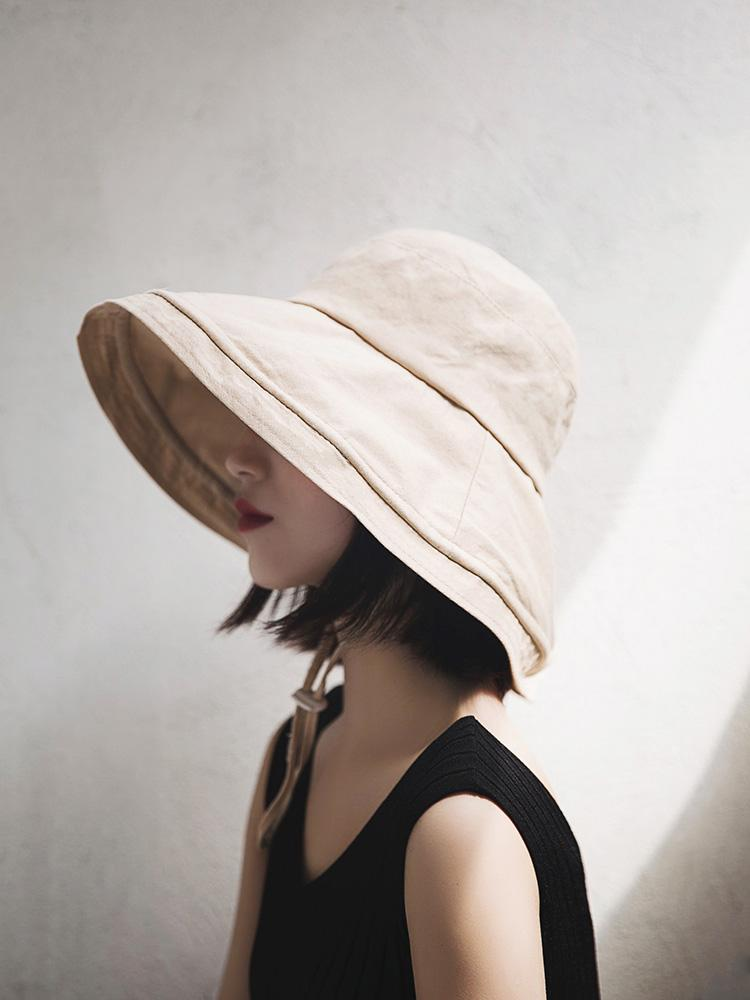Cover Face Summer Big Fisherman Hat Ladies Chic All Match Sun Protection  Basin Cap Solid For Women With Wind Rope Tea Party Hats Rain Hat From  Amoywatches eff1a33b6f7