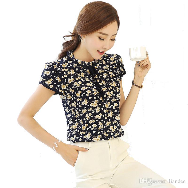 96dcb896fe Summer Floral Print Chiffon Shirts Blouse Ruffled Collar Bow Neck ...