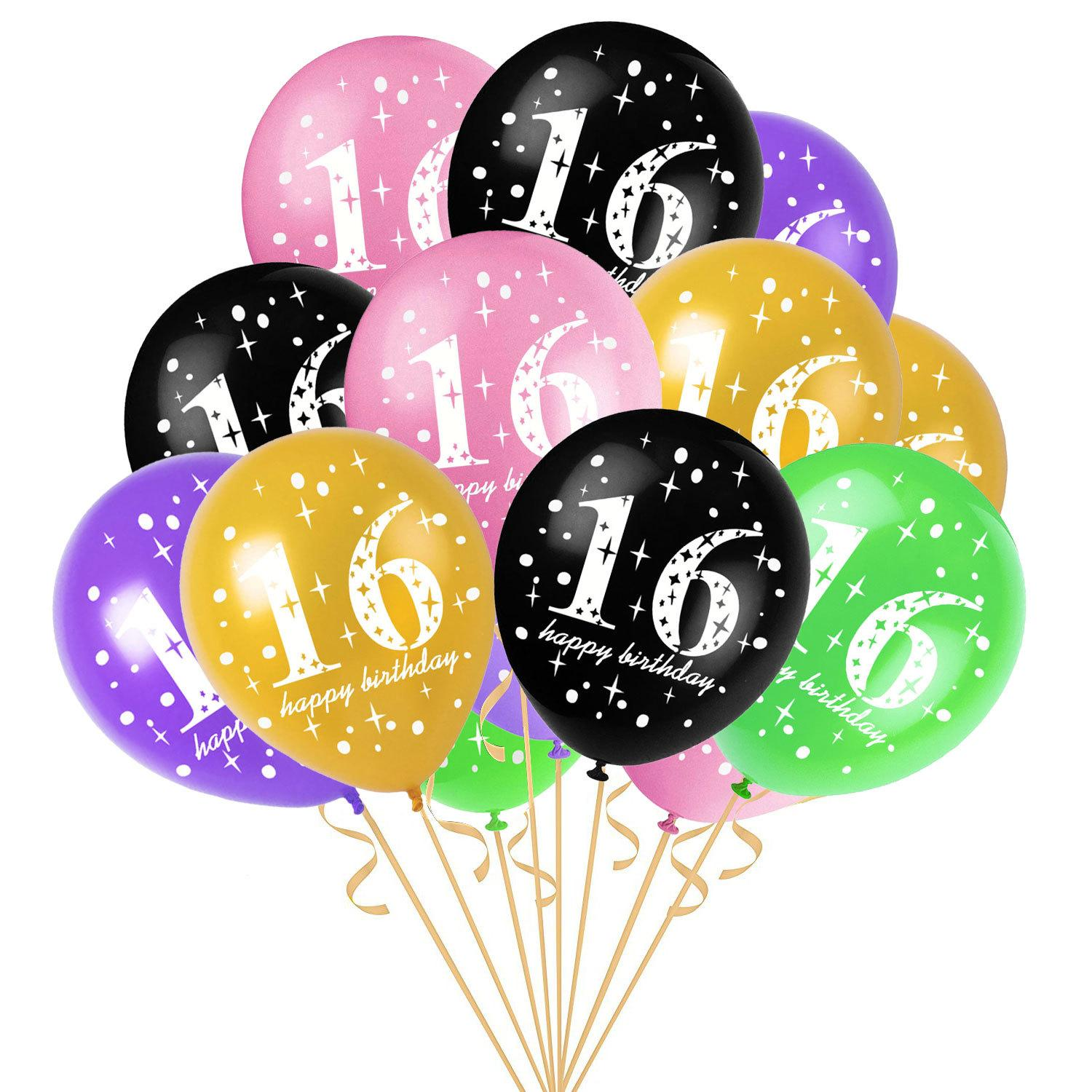 12 Inch 16 Years Old Birthday Balloons Latex Kids Girls Toys Wedding Party Decoration Gift AAA767 Largest Balloon In The