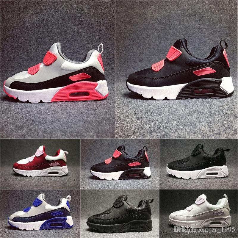 Compre Nike Air Max 90 2018 Primavera Otoño Zapatos Para Niños 90 Rosa Rojo Negro Transpirable Cómodo Zapatillas De Deporte Para Niños Niños Niñas
