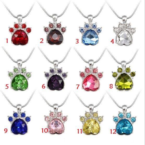 es Crystal Birthstone collar lindo perro garra gato pata collar colgante Charms Beads envío gratis