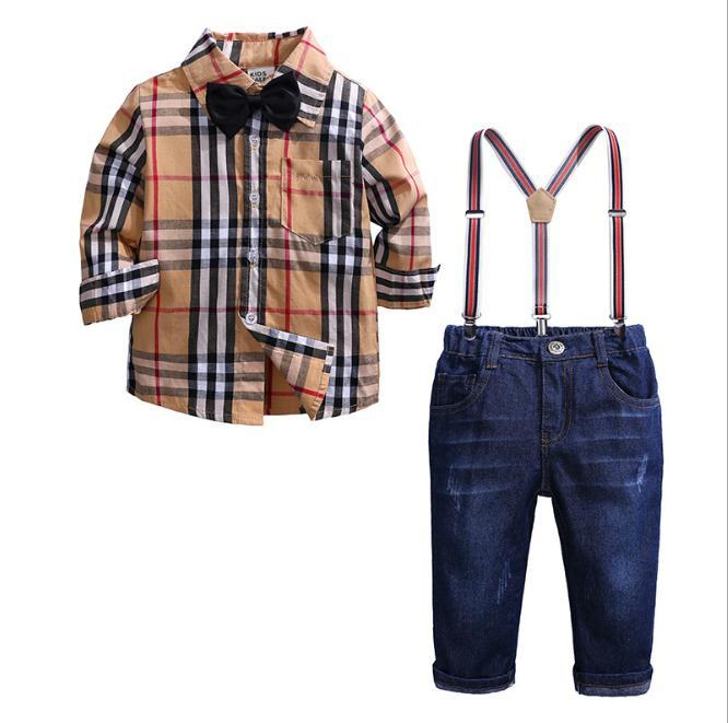 Boys Clothing Set Autumn Gentleman Suit Kids Long Sleeve Bow Tie Plaid Shirt+Straps Jeans Pant Children Outfits