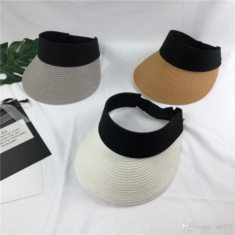 ce47dd936a68eb 2019 Women Men Weave Solid Color No Top Sun Hat Outdoor Beach Travel Casual  Sunscreen Visors For Summer 15 5zc Ff From Sd005, $3.28   DHgate.Com