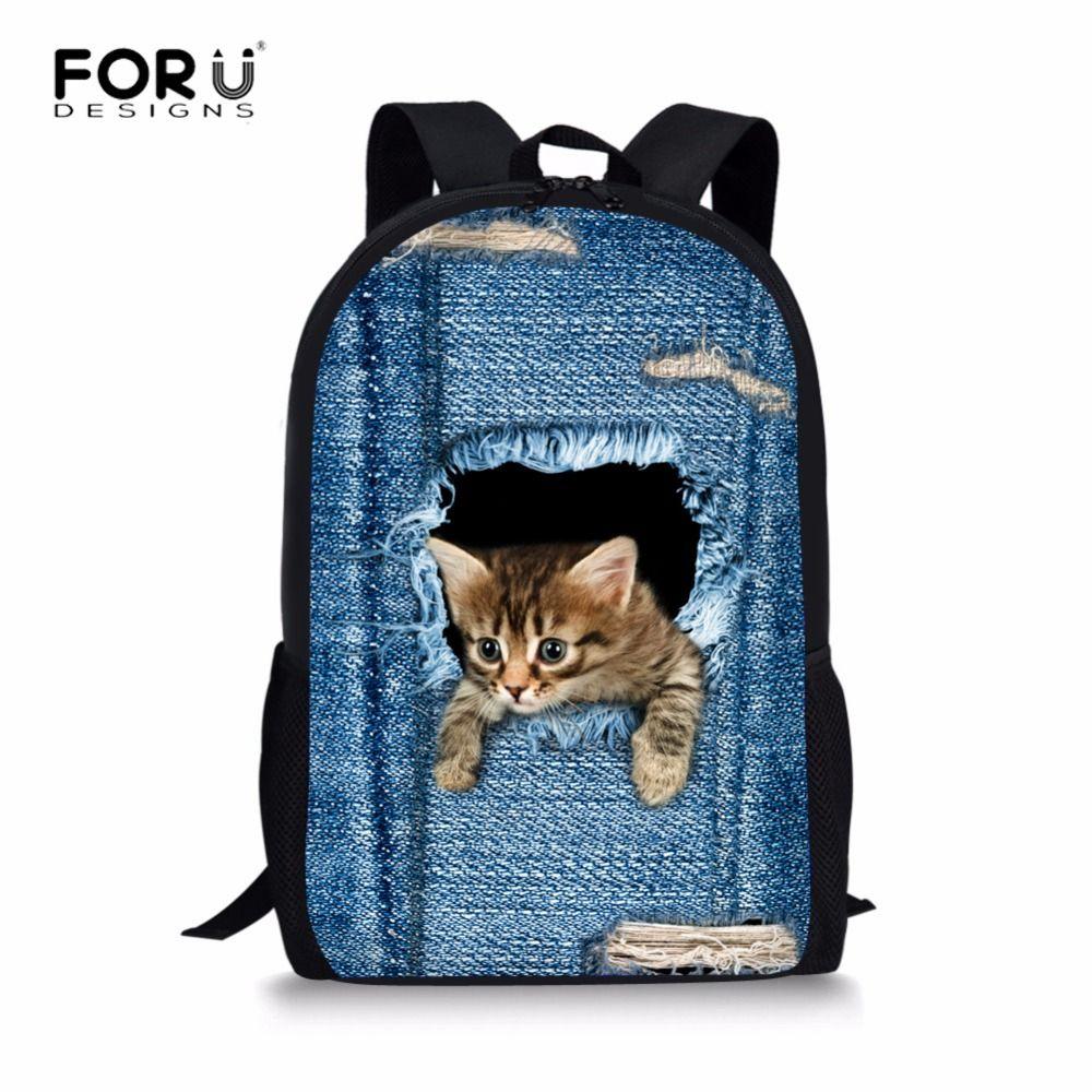 Forudesigns Cat Backpack Cute 3d Animal Denim Backpacks For Children