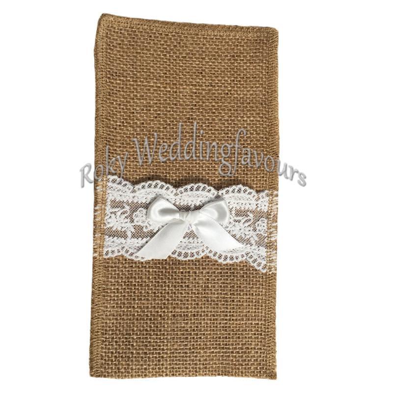 """Jute Lace Cutlery Pocket Burlap Knife and Fork Bag Vintage Wedding Tableware Bag 4""""x8"""" Burlap Holder Bag"""