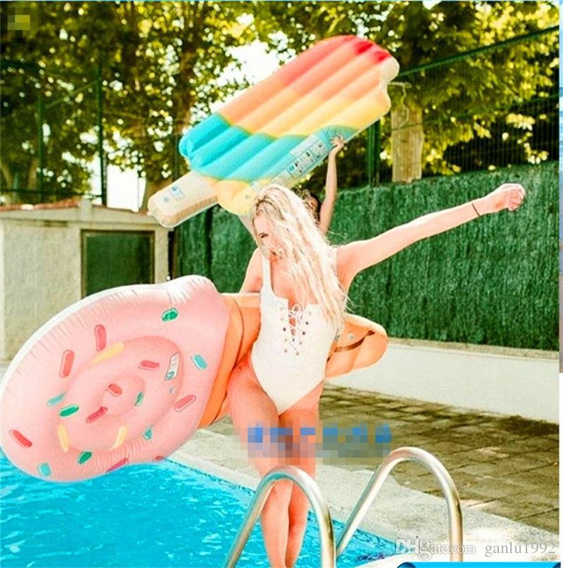 New Pattern Pool Ice Cream Water Inflatable Floats Color Water Bed Swimming Suplies Summer Portable Beach Funny Pad 26df W