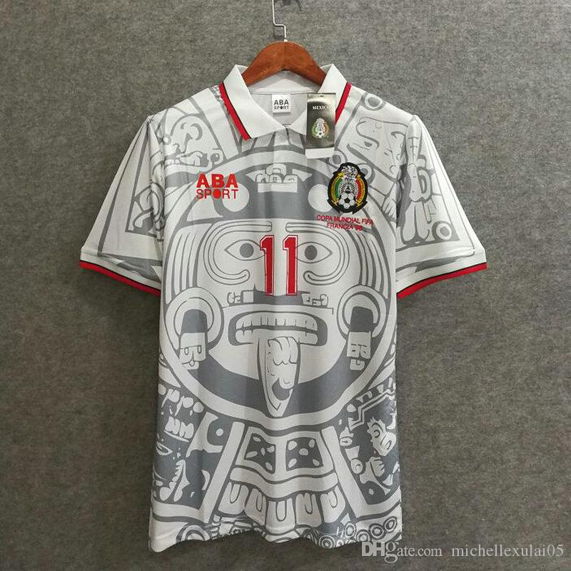 Mexico away white retro soccer jersey BLANCO 1998 vintage football tops men's a+++ thai quality sport shirt old season outdoor soccer wear