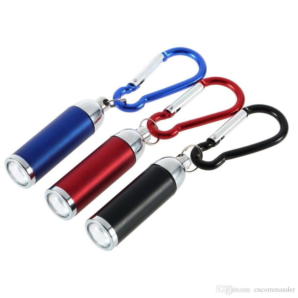 Mini lampe de poche LED aluminium convexes Torche Verte Poche Porte-clés crochet