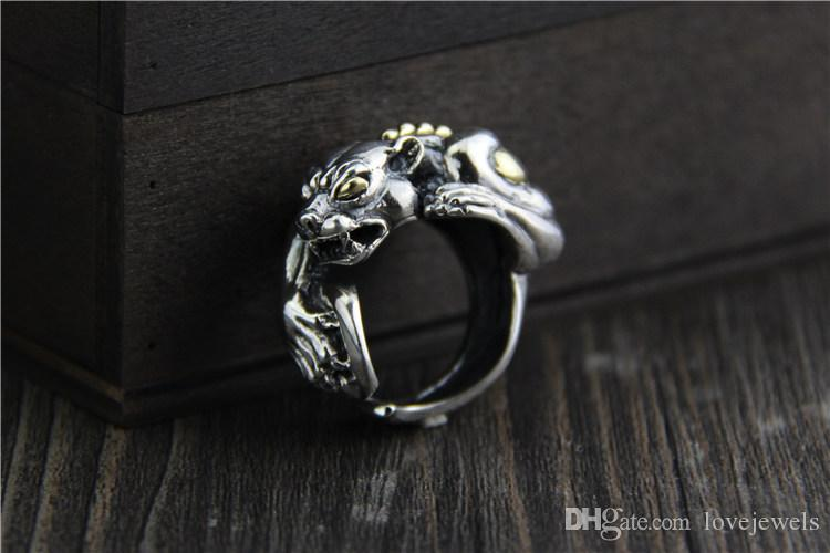 925 sterling silver rings vintage personality exaggerated domineering leopard mens ring adjustable hip hop jewelry wholesale china