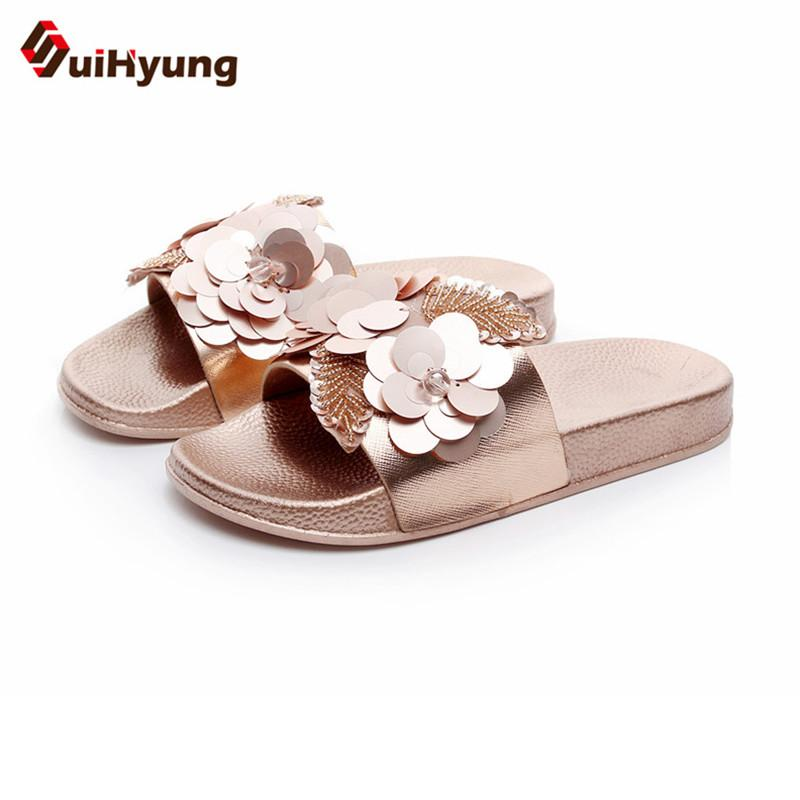 b117d9ee02ee Suihyung Fashion Design Women Summer Slippers Flat Shoes Sequined Beads  Flowers Beach Flip Flops Female Sandals Outside Slides Rain Boots For Women  White ...