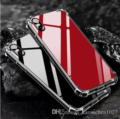 Mirror Case for iPhone X Anti Shock Hard Back Clear Soft TPU Frame Cover for iPhone 6 6S 7 7Plus iPhone 8 8plus Silver Rose Gold Black Coque