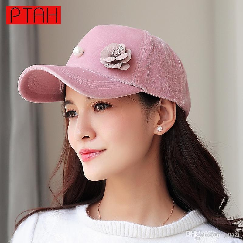 7e2688856ed PTAH Women Baseball Hip Hop Caps Suede High Quality Brand Solid Pearl  Floral Caps Adjustable Ladies Fashion Spring Casquette6019 Trucker Cap  Snapback Caps ...