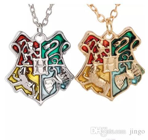 DHL Hogwarts Badge movie Necklace Gold wizard academy College Pendant Chains Fashion Jewelry for Women Men