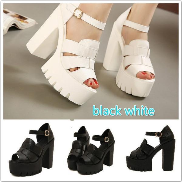Compre Moda 2017 Nuevas Plataformas De Cuña De Verano Sandalias De Mujer  Blanco Y Negro De Punta Abierta Tacones Altos Zapatos Femeninos A  68.35  Del ... a35d1f818599