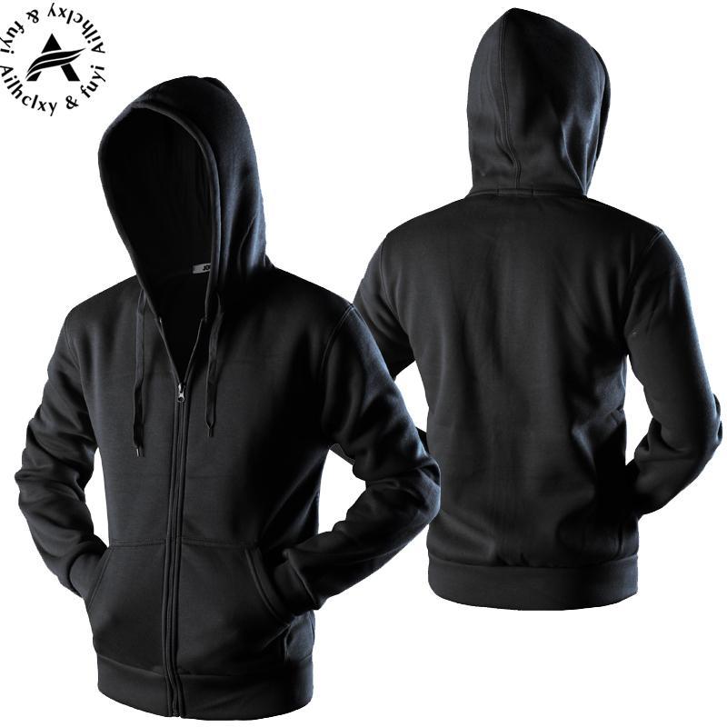 07daa773e6f 2019 New 2017 Plain Mens Zip Up Hoody Jacket Sweatshirt Hooded Zipper Male  Top Outerwear Black Gray Boutique Men From Jiuwocute